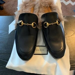 NWT GUCCI | Princetown Leather Slipper Black/Fur